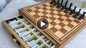 TABLERO de AJEDREZ de PINO y ROBLE // CHESS BOARD
