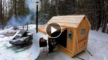 Tiny Cabin on Runners! / Wood Stove Install & Chaga Hunt / Log Cabin Update- Ep 11.5