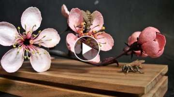 Wood Carving Bees and Cherry Blossoms Life Size