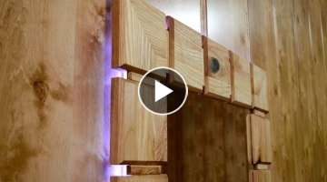 Upcycling an old wardrobe door into lighted wall mirror