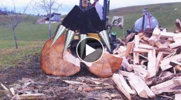 Amazing Wood Firewood Processing Machine, Automatic Modern Technology Fast Easy Cutting Big Tree