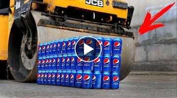 EXPERIMENT: ROAD ROLLER VS 100 PEPSI CANS