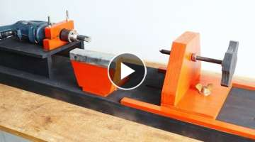 Homemade Woodworking Lathe || Make A Drill Powered Wooden Lathe