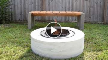 Concrete FIRE PIT | from a washing machine drum