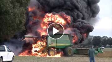 John Deere 9660 STS Combine Fire, SK FARMS SOYBEAN HARVEST PART 2