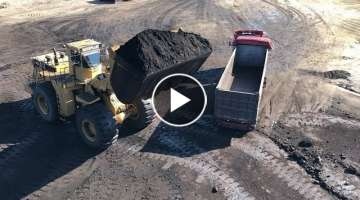 Cat 992C Wheel Loader Loading Coal On Trucks And Operator View - Melidis SA