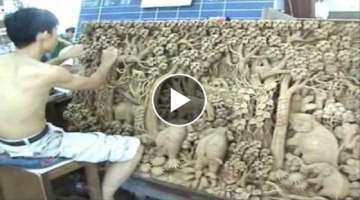 Intricate Thai Wood Carving Art