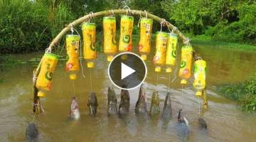 Believe This Fishing? New Fishing Technique Trap Using 10 Bottles & 10 Hooks To Catch Alot Of Fis...