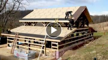 EXTREME Fastest Wooden House Build Skills - Amazing Intelligent Log House Building Process