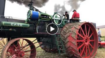 150 CASE steam engine plowing with 36 bottom John Deere plow
