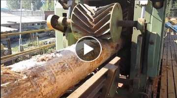 Extreme Fast Skill Sawmill Big Tree Machine Working - Amazing Modern Wood Cutting Chainsaw Machin...